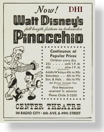 PINOCCHIO PREMIERE–Exploitation and the Center Theater
